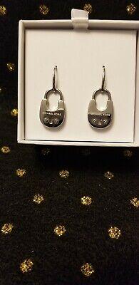 Michael Kors Heritage Padlock SILVER Dangle Pave Drop Earrings w/ Gift Box