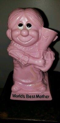 W&R Berries World's Best Mother Statue Figurine Mom Trophy Vtg 1970