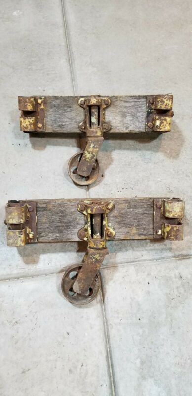 (2) VINTAGE INDUSTRIAL CAST IRON WHEELS CASTERS Cart swivel RAILROAD FACTORY