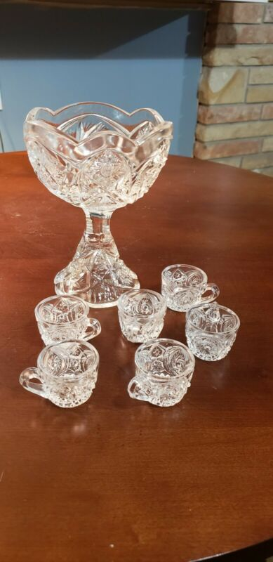 Vintage Childrens Toy Punch Bowl And 6 Cups Clear Pressed Glass
