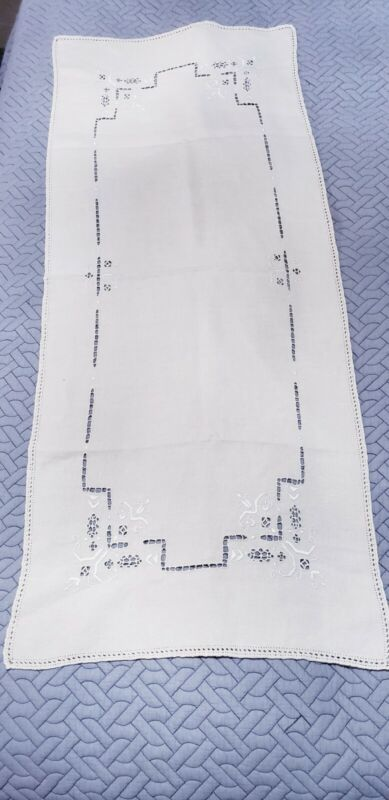 "Vintage Madiera Linen Embroidered 44"" table runner"