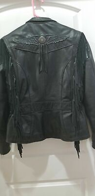 ⭐Harley Davidson Ladies Black Leather Jacket Size Small Willie G Style