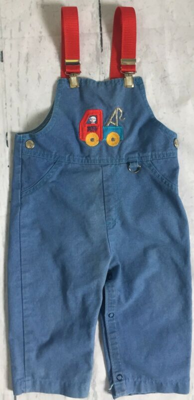 Vintage Baby Infant Toddler 24M Carters 80s 90s Truck Long  Pants Overalls USA