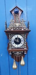 Dutch Zaanse wall clock nutwood case
