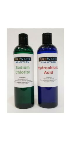 Water Purification Solution - Chlorite (NaClO2) & Hydrochloric Acid 12 oz each