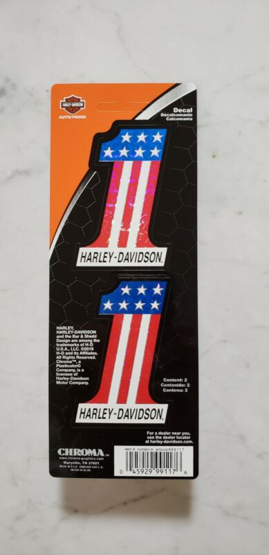 Harley-Davidson Number One #1 American Flag Decals Stickers