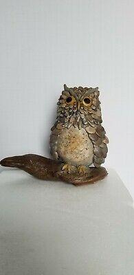 Stone Rock Folk Art Owl Signed Piece Mary Kesler