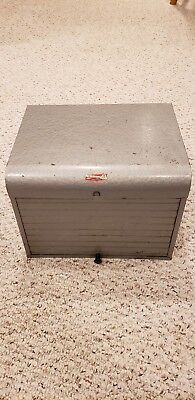 Vintage Brumberger Metal Industrial Dark Room Film Storage Cabinet Safe Roll Top