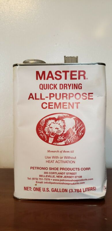 Petronio Masters quick dry Cement Leather, shoe repair 1 Gallon oz. glue. Barge