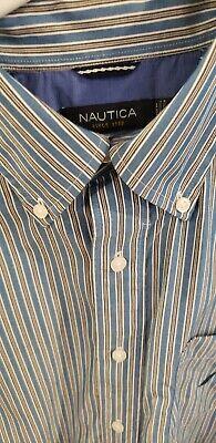 Nautica Mens Medium Blue  Button Up Long Sleeve Shirt Embroidered Blue Logo M