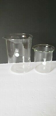 Vintage Lot 2 Pyrex Glass Lab Beakers 2000 Ml 800 Ml Wide Mouth