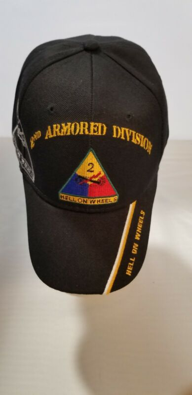 """US ARMY 2nd ARMORED DIVISION CAP """"Hell on Wheels""""Black Embroidered Free Shipping"""