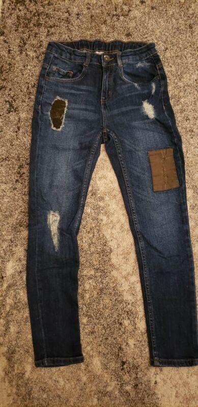 EUC Zara Boys Distressed Blue Skinny Jeans Size 10