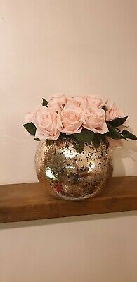 Artificial roses peony flowers in vase crackle fish bowl perfect for mothers day