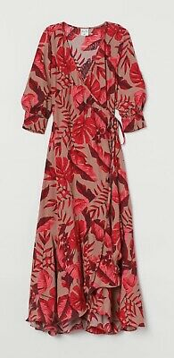 H&M Johanna Ortiz Crepe Wrap Dress Leaf Print - M