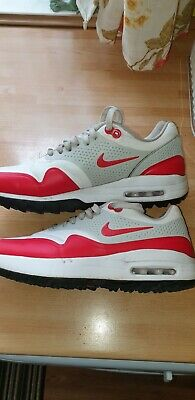 Nike Air Max 1 G Golf Shoes UK Size 7.5  White University Red AQ0863-100