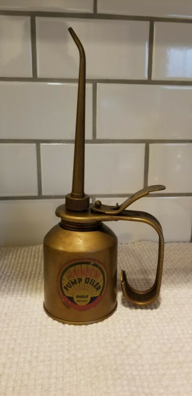 Vintage Brass Eagle Rainbow Hydraulic Pump Oiler 352-E Oil Can Very Nice & Clean