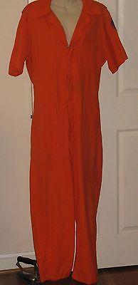 Vtg Orange Zip Front SS Distressed Public Works - Ss Uniform Kostüm