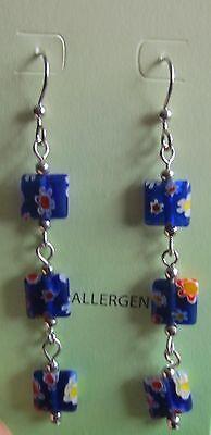 Square Beaded Hoops - Jody Coyote Earrings JC0136 New hypoallergenic flower bead square beads