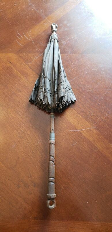 Vintage Victorian Silk Childs Umbrella/Parasol with Carved Wood Handle