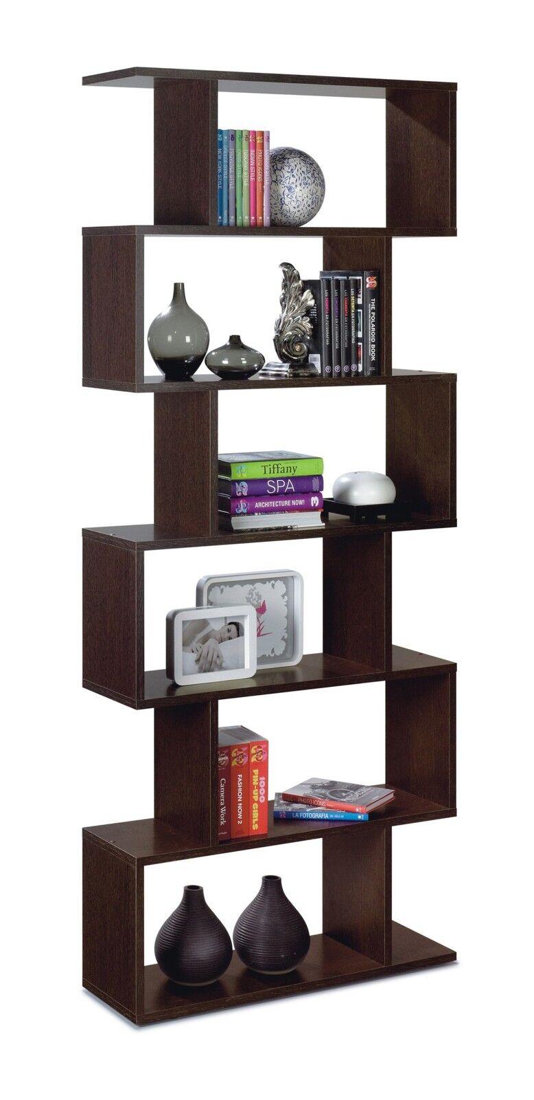 Gloss Black, White, Brown Room Divider Bookcase Lounge