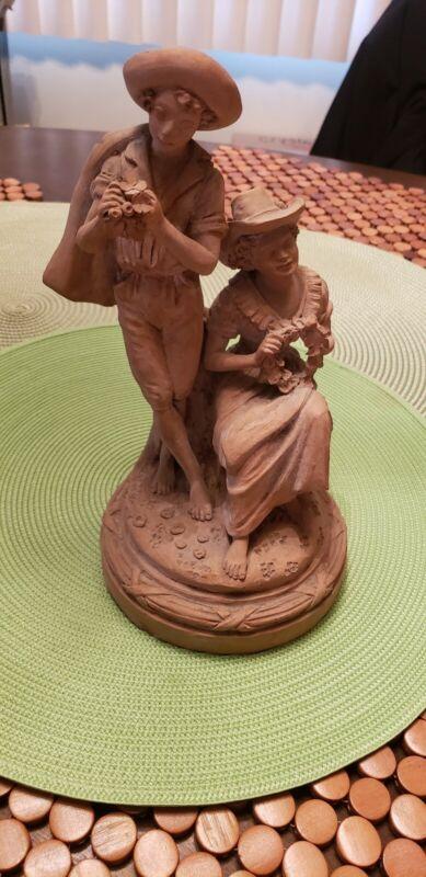 L. ZORTEA Italian Terracotta Clay Statue Antique 1920s