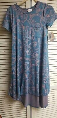 NWT LuLaRoe XXS Carly Dress MULTI COLOR blue Multi Blue Dress