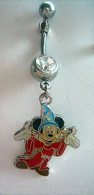 Navel Belly Button Ring 14g Mouse Dangle CZ GEM   Red Blue Black White ()