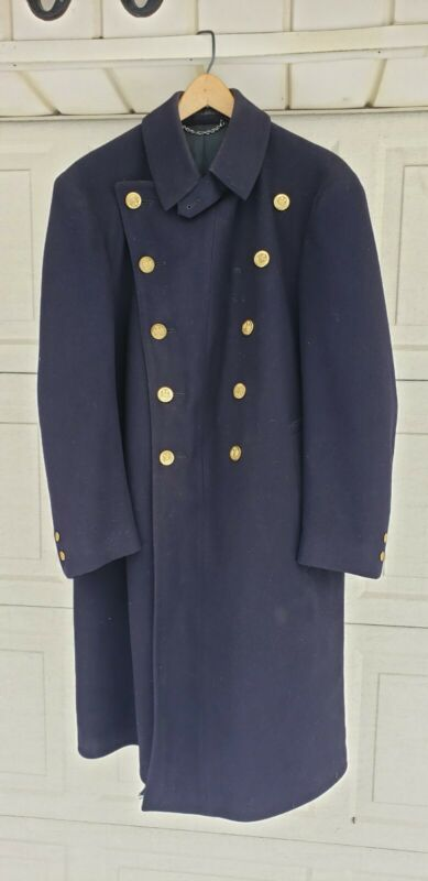 vintage NYPD coat jacket long heavy double breasted overcoat