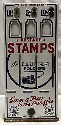 Vtg Shipman Mfg Co Postage Stamp Vending Machine 3 Lever Slot Coin...