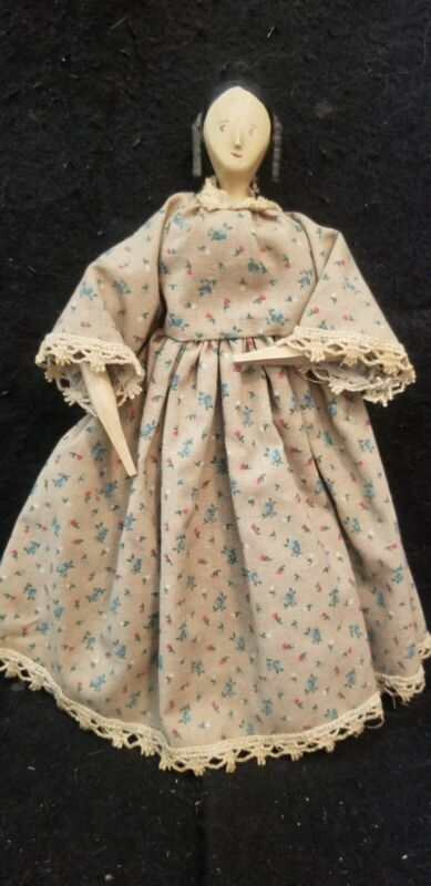 """VINTAGE WOOD PEG DOLL THE HOUSE OF SEVEN GABLES 9"""" tall dressed"""
