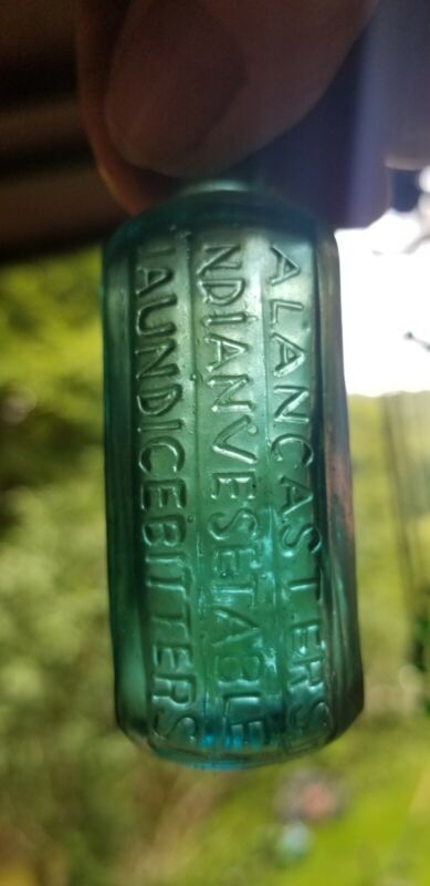 Cool Repro. Turquoise Miniature A. Lancaster Indian Vegetable Jaundice Bitters