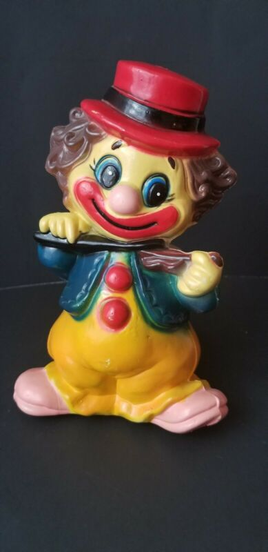 Vintage Toy Clown Bank Plastic EUC Great Gift Idea