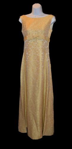 Unbranded Vintage 60s Yellow Gold Floor Length Bridesmaid Prom Dress size 5/6