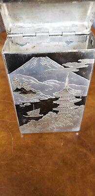 Engraved Japanese 950 Sterling Silver Cigarette Case Signed Mt Fuji & Pagoda