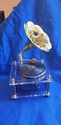 Vintage Collectible Small Gramophone lucite Record Music Box - Works