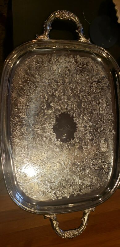 Large 22 in Vintage Newport Butler's Serving Tray silverplate great handles