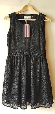 BNWT JACK WILLS BLACK VELVET TRIM DOTS SLEEVELESS MINI DRESS UK 10 ()
