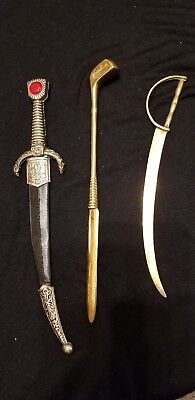 1 Golf club & 2 Swords Letter Openers
