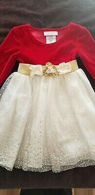BONNIE BABY 18 Months Red Velvet Lace Satin Flowers Dress  Holiday Christmas Flowers 18 Months