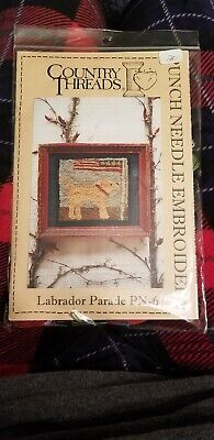 Rare Labrador Parade Punch Needle Embroidery Kit PN-6 COUNTRY THREADS NIP Country Needle Embroidery