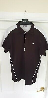 J.Lindeberg Mens Golf Polo Shirt. Black & White. Medium