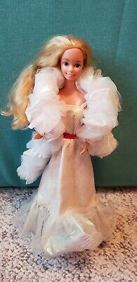 Crystal Barbie Vintage 80s barbie doll dress boa