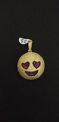 Emoji With Heart Eyes (New designer 925 stamped HEART EYES EMOJI Pendant sterling Silver  iced with CZ)