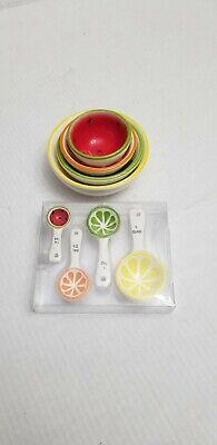 Set 4 Ceramic Measuring Cups and spoons  Fruit Theme Kitchen Gadget Utensil  Gadgets Measuring Spoon Set