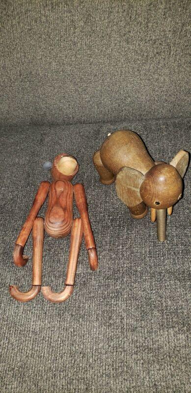 Vintage Schooline Mid Modern Elephant Wood Figure Monkey