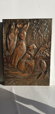 VINTAGE SOVIET PICTURE STAMPING PLAQUE EMBOSSED CHEKANKA COPPER Kasach girls