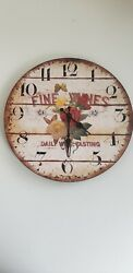 Vintage Looking Fine Wines Battery Operated Wall Clock TESTED WORKS