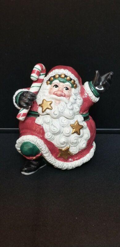 "2003 Fitz And Floyd Essentials Santa cookie jar Snow Business 8"" EUC NO BOX"