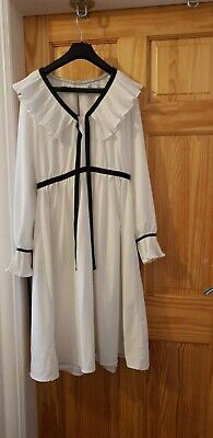 Rare Lost Ink White Midi Dress With Ruffles Size 12(Vintage/Halloween)